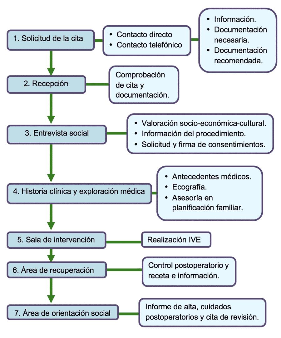 Gráfico del circuito de atención de IVE en Ginealmeria. Aborto instrumental